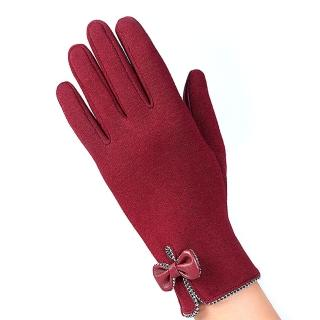 【幸福揚邑】防風加絨觸控騎車開車保暖棉手套-時尚蝴蝶(紅色)