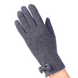 【幸福揚邑】防風加絨觸控騎車開車保暖棉手套-時尚蝴蝶(灰色)