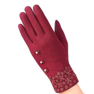 【幸福揚邑】防風加絨觸控騎車開車保暖棉手套-典雅蕾絲(紅色)