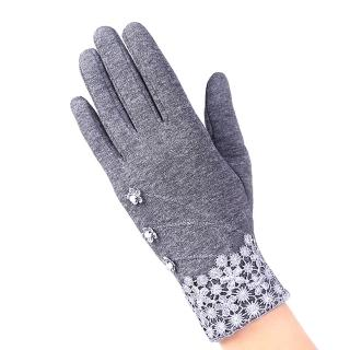 【幸福揚邑】防風加絨觸控騎車開車保暖棉手套-典雅蕾絲(灰色)