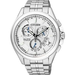 【CITIZEN Eco-Drive】鈦金屬萬年曆電波男錶-白(BY0051-55A)