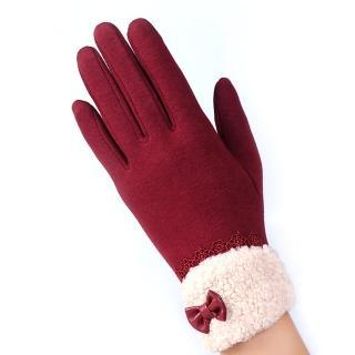 【幸福揚邑】防風加絨觸控騎車開車保暖棉手套-可愛絨毛(紅色)