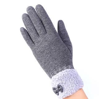 【幸福揚邑】防風加絨觸控騎車開車保暖棉手套-可愛絨毛(灰色)