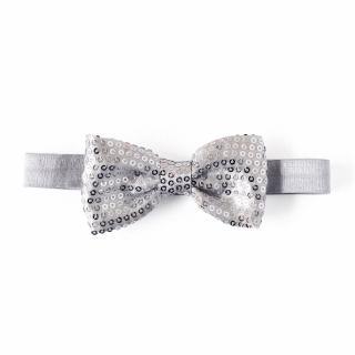 【美國 Joli Sophie】亮片彈性髮帶 - 金屬銀(JSHBBOWSG)