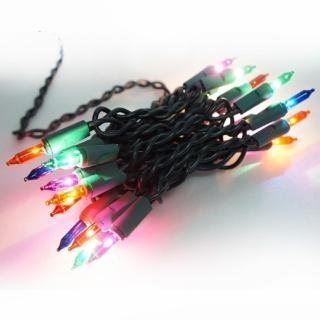 【聖誕裝飾品特賣】聖誕燈串-20燈彩色樹燈(鎢絲燈-浪漫四彩色)