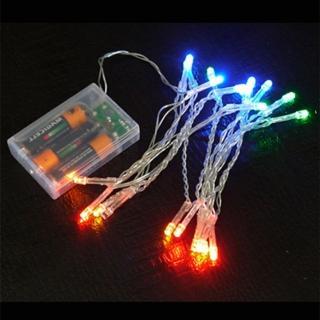 【聖誕裝飾品特賣】聖誕燈 LED燈串20燈電池燈(四彩色光/透明線 高亮度又環保)