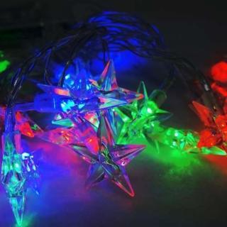 【聖誕裝飾品特賣】聖誕燈 LED20燈透明星星電池燈(彩光 高亮度又環保)