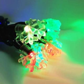 【聖誕裝飾品特賣】聖誕燈裝飾燈LED20燈雪花燈造型燈(彩色光 插電式/自動雙色雙閃)