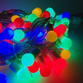 【聖誕裝飾品特賣】聖誕燈100燈LED圓球珍珠燈串(插電式/彩色光/ 透明線附控制器跳機 高亮度又省電)