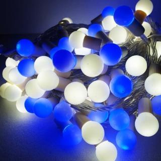 【聖誕裝飾品特賣】聖誕燈100燈LED圓球珍珠燈串(插電式/藍白光/透明線 附控制器跳機 高亮度又省電)