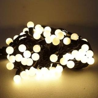 【聖誕裝飾品特賣】聖誕燈100燈LED圓球珍珠燈串(插電式/暖白光黑線/ 附控制器跳機 高亮度又省電)