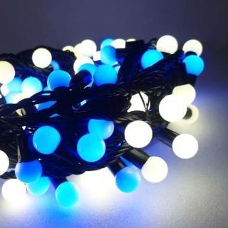 【聖誕裝飾品特賣】聖誕燈100燈LED圓球珍珠燈串(插電式/藍白光黑線/ 附控制器跳機 高亮度又省電)