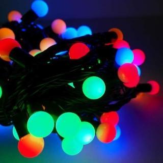 【聖誕裝飾品特賣】聖誕燈100燈LED圓球珍珠燈串(插電式/彩色光黑線/ 附控制器跳機 高亮度又省電)