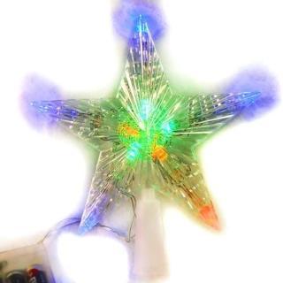 【聖誕裝飾品特賣】聖誕燈LED透明樹頂星電池燈(彩光 高亮度又環保)
