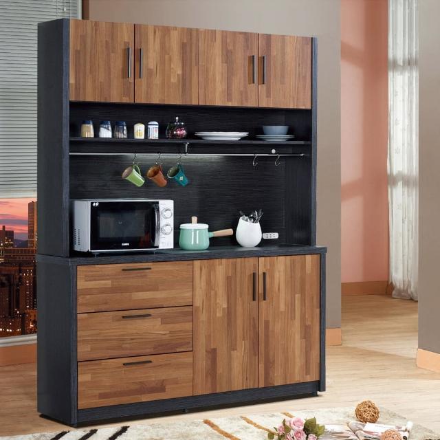 【樂和居】楓尚5尺雙色碗盤櫃-櫥櫃(上+下座)