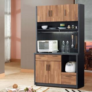 【樂和居】楓尚4尺雙色碗盤櫃/櫥櫃(上+下座)