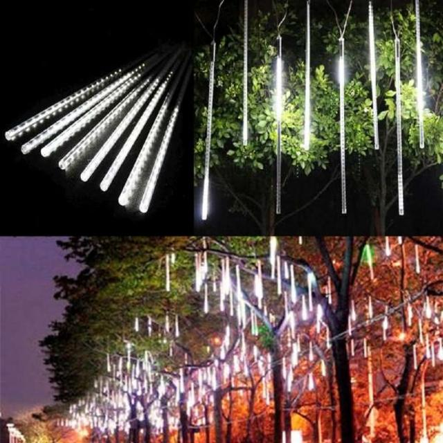 【聖誕裝飾品特賣】聖誕燈裝飾燈LED流星燈串8條燈(白光插電式-單燈長50cm)