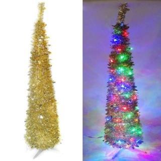 【聖誕裝飾品特賣】6尺/6呎 180cm  彈簧摺疊金色哈利葉瘦型鉛筆樹聖誕樹(LED100燈四彩光一串)