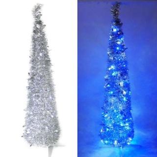 【聖誕裝飾品特賣】尺/6呎 180cm彈簧摺疊銀色哈利葉瘦型鉛筆樹聖誕樹(LED100燈藍白光一串)