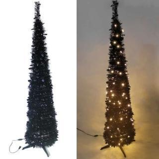 【聖誕裝飾品特賣】6尺/6呎 180cm 彈簧摺疊黑色哈利葉瘦型鉛筆樹聖誕樹(LED100燈暖白光一串)