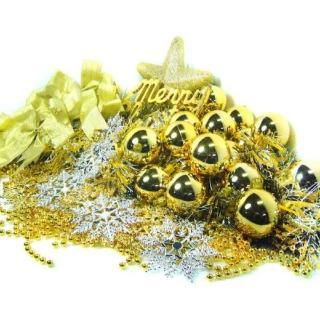 【聖誕裝飾品特賣】聖誕裝飾配件包組合-金銀色系(4-5尺樹適用 不含聖誕樹 不含燈)