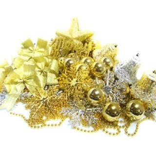 【聖誕裝飾品特賣】聖誕裝飾配件包組合-金銀色系(8尺 240cm樹適用 不含聖誕樹 不含燈)