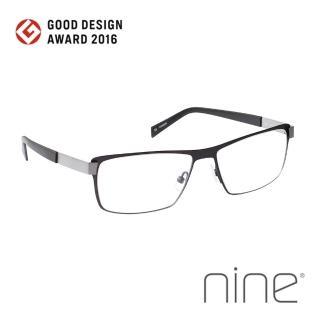 【nine 眼鏡】丹麥設計日本手工製造 EDGE系列光學眼鏡-(鈦黑 EDGE 2228 BTI)