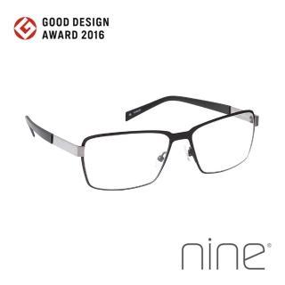 【nine 眼鏡】丹麥設計日本手工製造 EDGE系列光學眼鏡-(鈦黑 EDGE 2229 BTI)