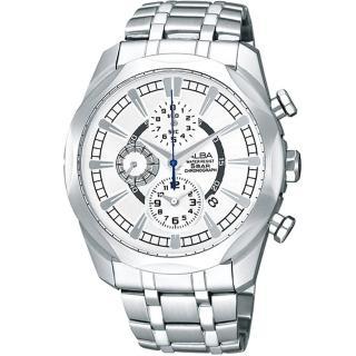 【ALBA雅柏】豪邁時尚三眼個性不鏽鋼腕錶(38mm/YM92-X148S)