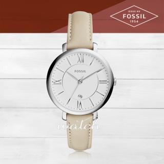 【FOSSIL】氣質必備_時尚簡約_皮革錶帶_日期顯示_指針女錶(ES3793)