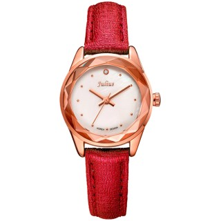 【JULIUS】小獅子流星雨貝殼面皮帶腕錶(五色/26mm)