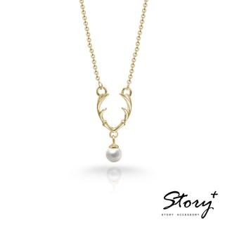 【STORY ACCESSORY】SNOW系列-Dear麋鹿天然珍珠項鍊(黃K金)