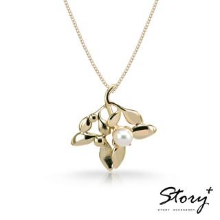 【STORY ACCESSORY】SNOW系列-Mistletoe大槲寄生天然珍珠項鍊(黃K金)