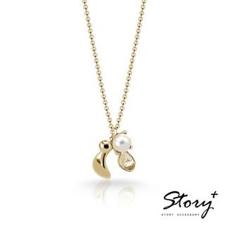 【STORY ACCESSORY】SNOW系列-Mistletoe槲寄生天然珍珠項鍊(黃K金)