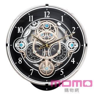 【RHYTHM日本麗聲】魔幻機械齒輪溫濕度計音樂報時掛鐘(尊爵采黑)