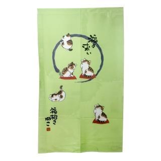 日式針織五福貓長門簾YSJ872(綠88x150cm)