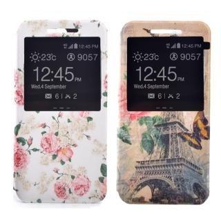 【Samsung】S7 時尚彩繪手機皮套 側掀支架式皮套(鄉村薔薇/巴黎玫瑰)