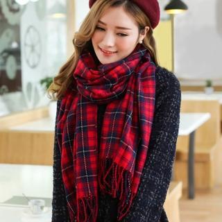 【幸福揚邑】百搭情侶羊絨質感格紋保暖圍巾/披肩(紅藍細格)