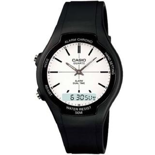 【CASIO】商務型酷炫雙顯指針錶(AW-90H-7E)