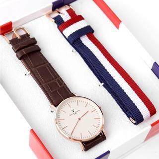 【范倫鐵諾.古柏】超薄簡約線條玫瑰金皮革手錶 雙錶帶組合帆布