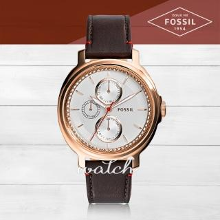 【FOSSIL】復古時尚_皮革錶帶_三眼顯示_指針女錶(ES3594)