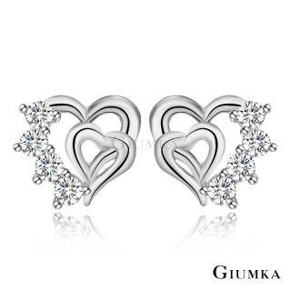 【GIUMKA】925純銀 心心鑲印 耳釘耳環 純銀耳環  一對價格 MFS06048-1(銀色白鋯款)