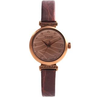 【JULIUS】琉璃海水鑽皮帶腕錶(五色/26mm)