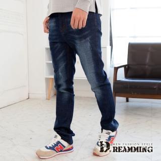 【Dreamming】紅繡線徽章刷白伸縮小直筒牛仔褲