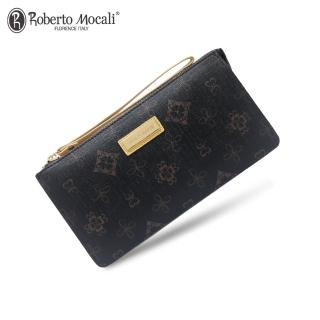 【Roberto Mocali 諾貝兔】時尚優雅黑金皮夾系列  幸運草壓紋拉鍊式手提包長夾