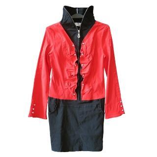 【JS嚴選】韓風修身顯瘦浪漫連身裙外套(DJ2667紅*1件+隨機小褲褲*2)