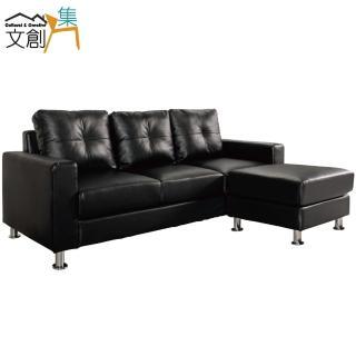 【文創集】耐克森  時尚黑皮革L型沙發組合(三人座+椅凳)