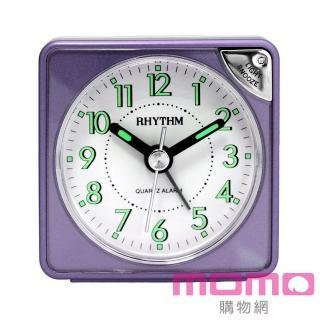 【RHYTHM日本麗聲】輕巧時尚LED夜光貪睡便攜小鬧鐘(羅蘭紫)