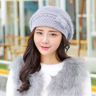 【幸福揚邑】保暖加絨護耳防風針織貝蕾帽蝴蝶結兔毛帽(淺灰)