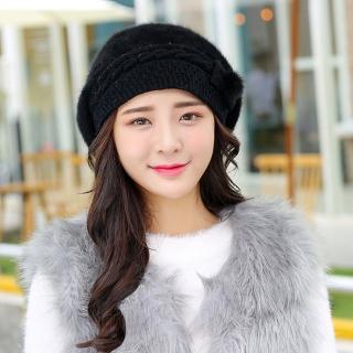 【幸福揚邑】保暖加絨護耳防風針織貝蕾帽蝴蝶結兔毛帽(炫黑)